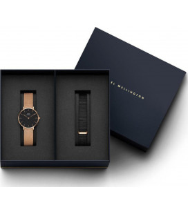 Daniel Wellington Classic Black Petite Melrose 32mm + Cornwall ремешок